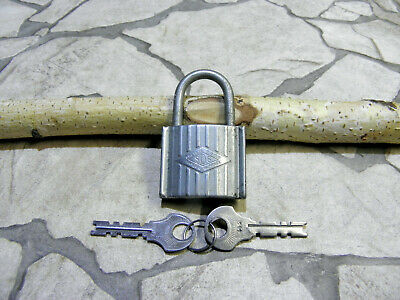 French Vintage Iron Padlock Branded Sos And TWO Keys #412