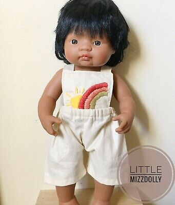Miniland Doll Clothes Overalls ~rainbow&sun Embroidery ~