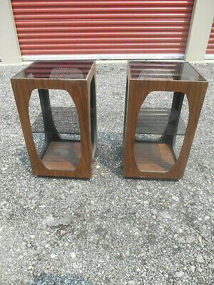 Pair of 1960's Mid-Century Modern Lane Lamp Tables w Smoke Glass Top