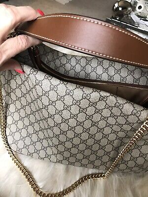dd8f6f43 NWT GORGEOUS AUTHENTIC Gucci GG Supreme Large Linea Shoulder Bag With Dust  Bag