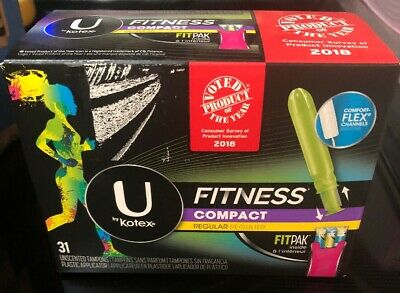 U by Kotex Fitness Compact Tampons, Regular Unscented, FitPak, 31 ct