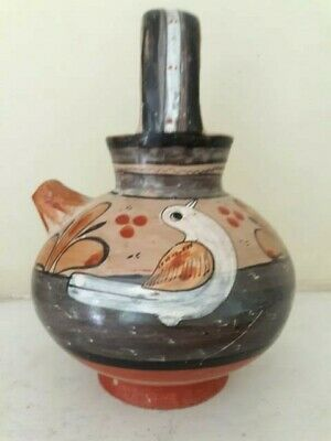 VINTAGE MEXICO Folk Art POTTERY TONALA SPOUT HANDLED WATER JUG, JAR, POT