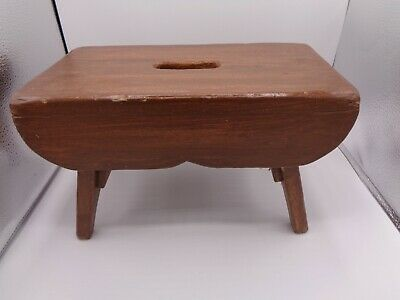 Antique 1923 Primitive Handmade Wooden Milking Step Stool Signed by Maker Father