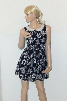 Exquisite  60s Alice doll style floral skater dress black white collar UK12 VGC