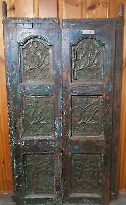 Antique Hand Carved Heavy Wood + Metal Painted Doors India Man Cave Style
