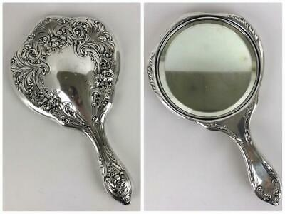 Antique WILCOX ROTH & CO Art Nouveau Repousse Sterling Silver Hand Vanity Mirror