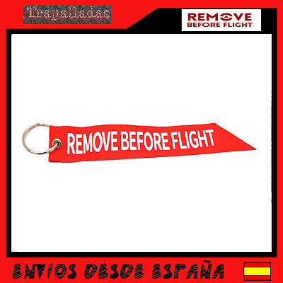 REMOVE BEFORE FLIGHT Llavero aviacion Tela Rojo Avion Cinta