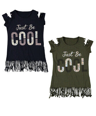 New Kids Fashion Girls Tassel Cold Shoulder  Cami Top age 9-12 Years