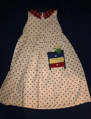 Boutique funtasia ! Too Red & White polka dotted dress Beautiful Applique