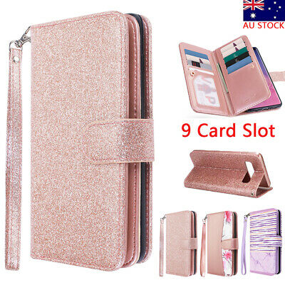 Samsung Galaxy S10+ Plus Note 9 Magnet Flip Leather Stand Card Wallet Case Cover
