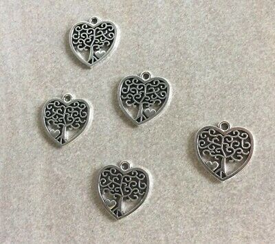 Antique Silver,Tree Of Life Heart Charms, 18x17mm, 5pcs Jewellery Making