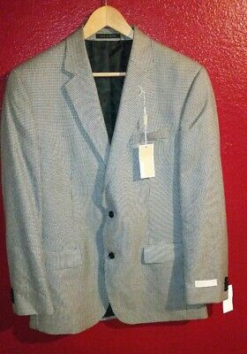 $295 MICHAEL KORS Men Black & White 2 Button Suit Jacket Blazer Sport Coat 42 L