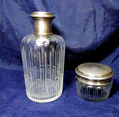 G. KELLER Antique French Set Perfume Bottle & Powder Box Sterling Crystal 1800's