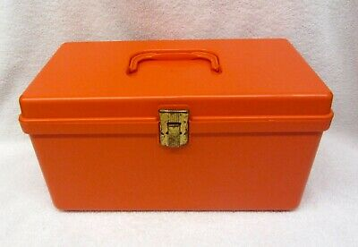 Vintage ORANGE Sewing Box Caddy Wil Hold Wilson Craft Storage with Tray Plastic