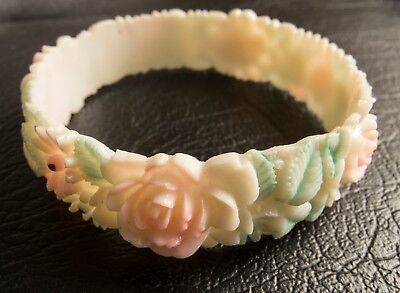 Vintage Japan 1930's Art Deco Ivory and Pink Roses and Daisies Celluloid Bangle