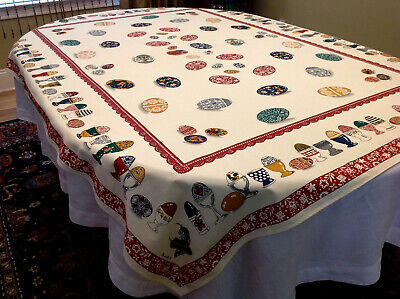 Rare BIENVILLE French Vtg Cotton Tablecloth Decorated Theme Egg Excellent 54x72