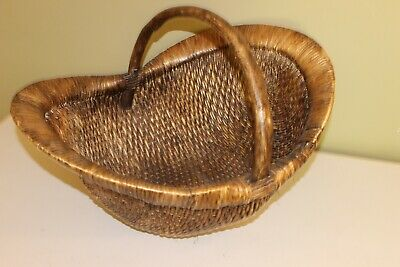 Chinese Antique Wicker & Wood Baby Basket