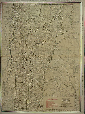 1922 Large Map ~ Vermont With Railroads Windsor Rutland ~ Rand Mcnally