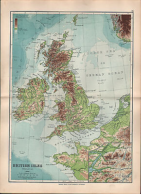 1895 Victorian Map ~ British Isles Physical ~ Pennines Grampians Cambrian Welsh