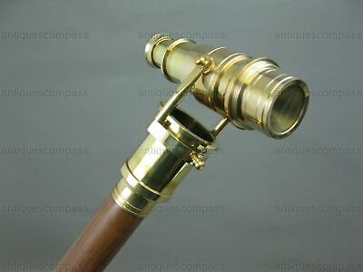 Brass TELESCOPE Handle Wooden Walking Stick Cane Folding Hidden Spy Collectable