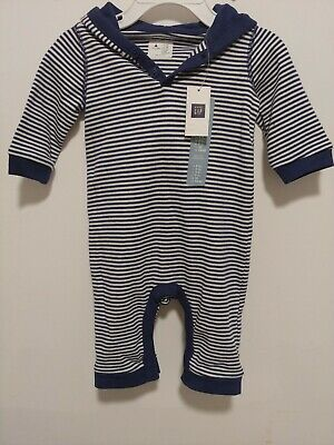 baby Gap Boys' Blue Striped Hooded Long Sleeve One Piece Romper Size 0-3 M NWT