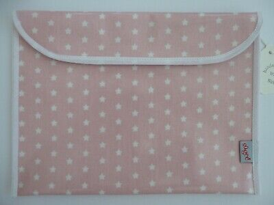 Baby Health Red Record Book Holder - PINK/WHITE Star - Oilcloth fabric-GIFT -NEW
