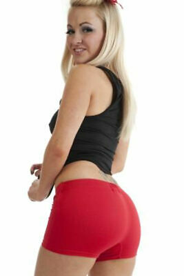 Ladies girls womens neon lycra stretchy sexy Red hot pants shorts dancing gym