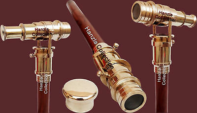 Nautical With Brass TELESCOPE Foldable Hidden Spy Wooden Walking Stick Cane Gift