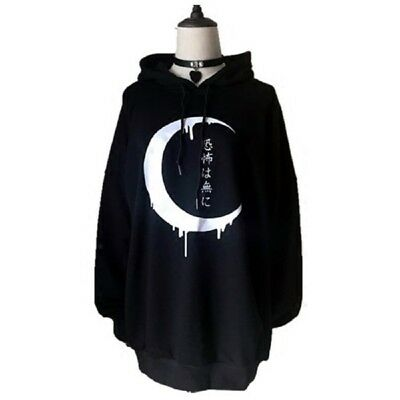 Women's Hoodies Gothic Moon Print Hooded Loose Fit Sweatshirts Jumper Pullover