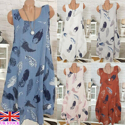UK Womens Italian Vintage Floral Long Tops Summer Casual Linen Loose Tunic Dress
