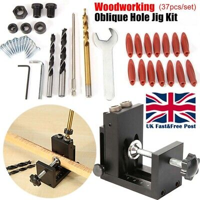 Pocket Hole Jig Kit System Wood Working Joinery Tools Set With Step Drill Bit -
