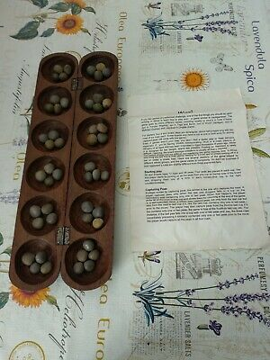 Vintage Wooden Hand Carved African Wuri Mancala Game With Peas Beautiful Piece