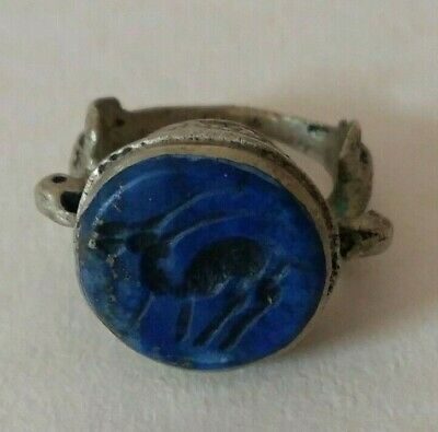 Middle East Islamic Style Intaglio Seal Silver Ring Lapis Lazuli Size 7.5