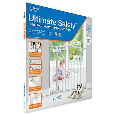 Perma Child Safety™ Ultimate Pressure Mounted Auto Close Baby Gate Barrier WHITE
