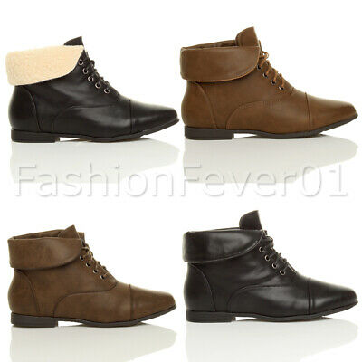 f893a5bc7 Womens Ladies Flat Low Heel Fur Vintage Foldover Pixie Ankle Boots Booties  Size