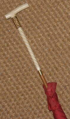 Antique Ladies 18Ct Gold Plate Red Canopy Umbrella 'M.M.D'