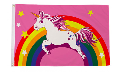 Unicorn Pink 5ft X 3ft Flag 75denier with eyelets suitable for Flagpoles