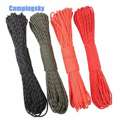 CAMPINGSKY 550 Reflective Paracord Parachute Cord Lanyard Tent Rope Mil Spec
