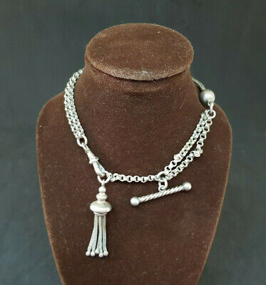 Beautiful Antique Solid Silver Albert Pocket Watch Chain With Tassels 16 G.