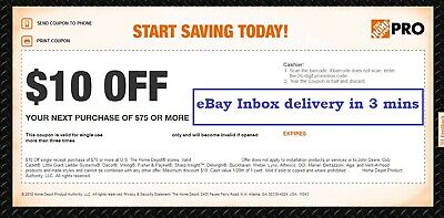 One 1X Home Depot $10 off $75Coupon-In-Store Only---FAST__SENT-3-M-I-N--S---