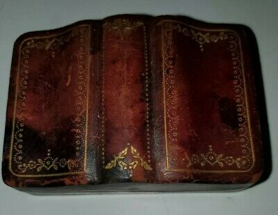 Vintage Playing Cards Genuine Brown Leather Case Box Made in Italy Gold Gilt
