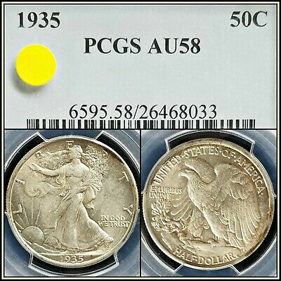 1935 Silver 50c Walking Liberty Half Dollar PCGS AU58 About Unc Classic Coin