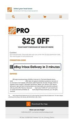 ONE 1x Home Depot $25 off $200Coupon In-Store Only--FAST_SENT_3mins--