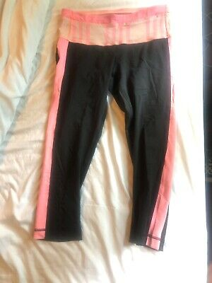80a7e1714770f Lululemon Women's Black Pink Cropped Straight Active Yoga Stretch Leggings  sz 4
