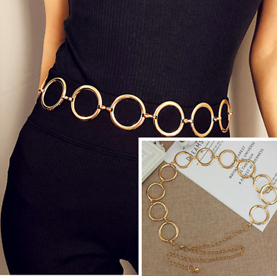 Vintage Gold Flower Circle Waistband Metal Waist Chain Vogue Belt Wide Women UK
