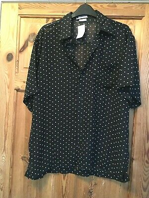 BNWT RED DUCK Ladies Black/White Spot Short Sleeve Sheer Loose Fit Shirt  8-10