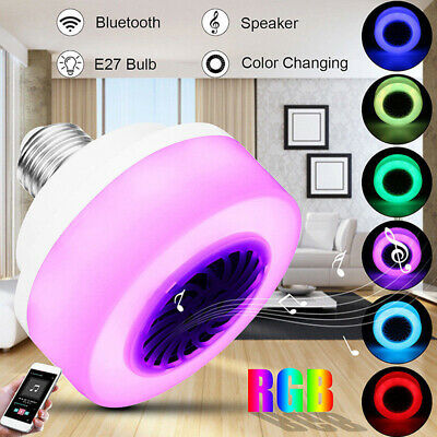 5W E27 LED Altavoz Bluetooth RGB Bombilla Lámpara cambio de color Speaker Bulb