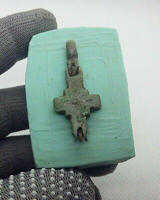Perfect Ancient Bronze Pendant Reliquary Cross ENKOLPION Viking c.11-12AD #271