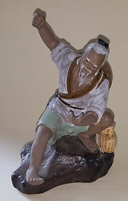 Chinese vintage Victorian oriental antique large fisherman figurine E