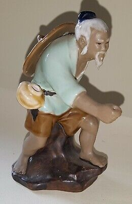 Chinese vintage Victorian oriental antique fisherman figurine ornament C